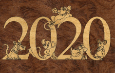 New Year 2020 Template Laser Cut CDR File