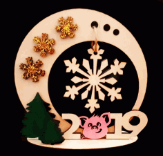 New Year Wooden Souvenirs Laser Cut CDR File