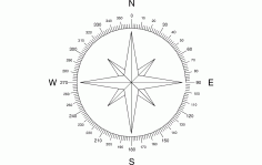 North Arrow Compass DXF Vectors File