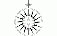 North Arrow Compass Raised Free DXF Vectors File