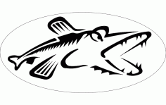 Northern Pike Fish Silhouette CNC Router Free DXF File