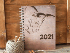 Notebook 2021 Bull Sticker Laser Cut Design CDR File