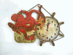 Octopus Wall Clock Laser Cut CDR File