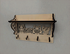 Owl Decor Wall Mounted Coat Rack Shelf Coat Hook Rack Entryway Shelf Free CDR File