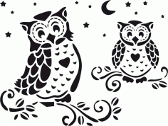 Owl Home Decor Stencil Vector Laser Cut CDR File