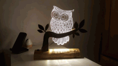 Owl Lamp Cnc Engraving File Free DXF Vectors File