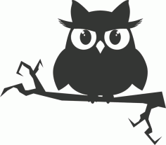 Owl on a branch sticker vector Laser Cut CDR File