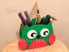 Owl Organizer Pen Holder Laser Cut Free CDR File