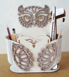 Owl Pen Holder CNC Laser Cutting Free CDR Vectors File