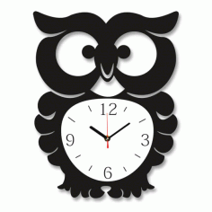 Owl Wall Clock Laser Cut Vector CDR Vectors File