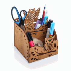 Owl Wooden Desktop Organizer Office Supplies Storage Rack Free Vector CDR File