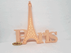 Paris Wooden Night Light Lamp Laser Cut Free DXF File