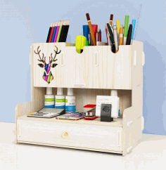 Pen Holder Creative Student Desktop Stationery Storage Rack Organizer Laser Cut DXF File