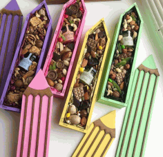 Pencil Candy Box Pencil Shaped Gift Box Laser Cut DXF File