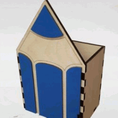 Pencil shaped Box for Laser Cut DXF File