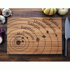 Planets Vector Art on Cutting Board Laser Cut Free Vector CDR File