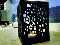 Plywood Lamp Candle Lantern Template Laser Cut DXF File