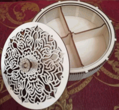 Plywood Round Box Basket With Compartments Laser Cut CDR File