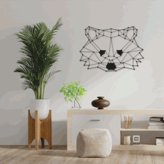 Polygon Raccoon Wall Art Laser Cut DXF File