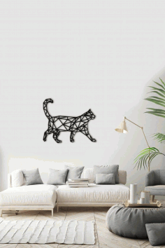 Polygonal Cat Wall Decal Laser Cut DXF File