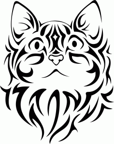 Pretty Tribal Cat Face Silhouette Vector Free CDR Vectors File