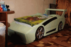 Racing Car Bed for Kids Laser Cutting CDR File