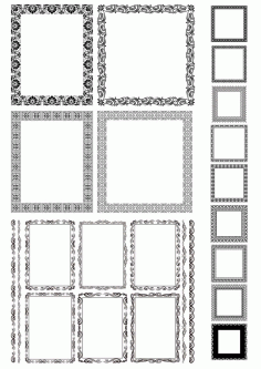 Rectangle Decor Frame with Border Vector Set Free CDR Vectors File