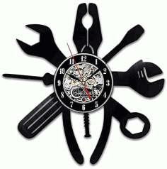 Repair Tools Wrench Pliers Vinyl Record Wall Clock Laser Cut DXF File