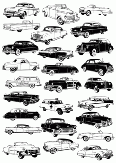 Retro Cars Vector set Free CDR Vectors File