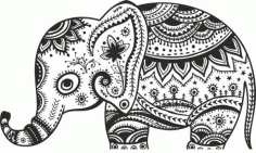 Retro Floral Elephant Free CDR Vectors File