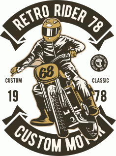 Retro Rider Print Download Free Vector CDR File
