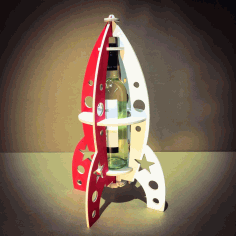 Rocket Beer Bottle Stand Laser Cut CDR File