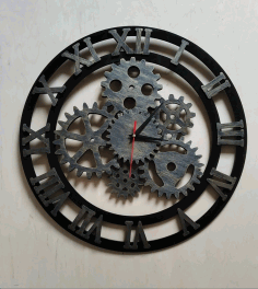 Roman Numerals Gear Clock Laser Cut CDR File