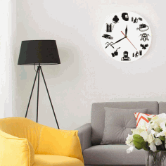 Room Wall Clock Modern Design Laser Cut CDR File