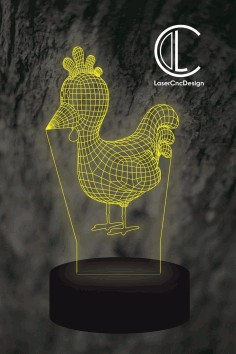 Rooster Vector File for LED Lamp CDR File