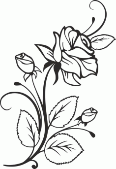 Rose and Rosebuds Beautiful Flower Stencil Free DXF Vectors File