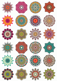 Round Floral Curly Ornament Vector Pack Free CDR Vectors File