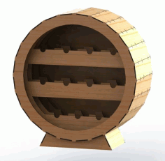 Round Wine Rack CNC Laser Cutting Free CDR Vectors File