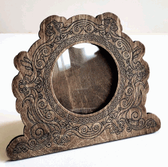 Round Wooden Photo Frame Decorative Engraved Laser Cut CDR File