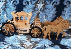 Royal Horse Carriage Horse Cart Laser Cut Free CDR File