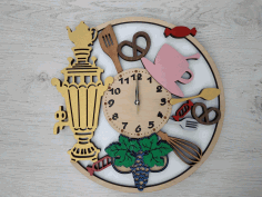 Samovar Wooden Wall Clock Laser Cut CDR File