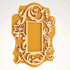 Scrolled Mirror Frame CNC Router Free DXF Vectors File