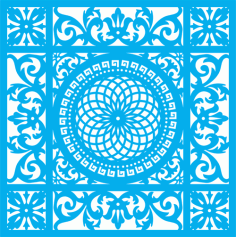 Seamless blue damask pattern Laser Cut Free CDR File