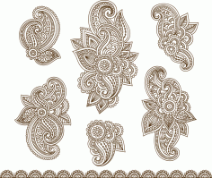 Set Mehndi Flower Pattern Henna Drawing Free CDR Vectors File