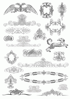 Set of Calligraphic Design Elements free CDR Vectors File