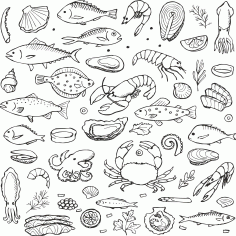 Set of Hand Drawn Fish Sticker CDR File