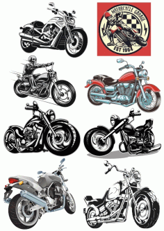 Set of Heavy Bike Stickers Silhouette CDR File