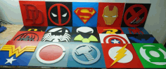 Set of Marvel Logo CNC Laser Cutting Free CDR File