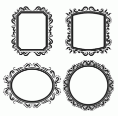 Set of Mirror Frame Free DXF Vectors File