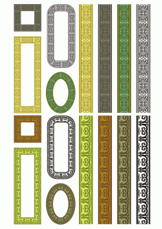 Set Of Seamless Vertical Borders Laser Cut Free CDR File